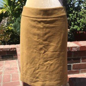 J. Crew Camel Wool Lined Pencil Skirt